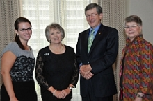 From left to right: Julie Crowgey (Chapter Administrator, MSU Chapter), Diane Smathers (Society President), William Bloodworth (Society Past President), and Mary Todd (Society Executive Director) - click to enlarge - opens in new window